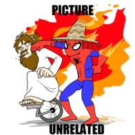 fire hat jesus macro punch robe sombrero spider-man unicycle unrelated // 1024x1024 // 306.3KB