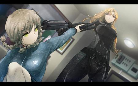 amane_suzuha blonde braids gloves gun shining_finger steins_gate sweatshirt // 1680x1050 // 131.4KB