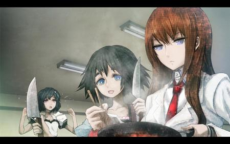 blue_eye brunette fire knife lab_coat makise_kurisu redhead shiina steins_gate // 1680x1050 // 150.7KB