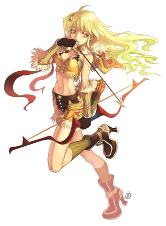 arrow blonde boots bow cleavage gloves high_heels long_hair ragnarok_online shorts short_shorts vest // 2216x3006 // 1.1MB