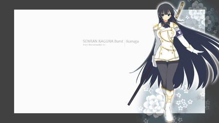 boots brunette gloves ikaruga jacket katana long_hair senran_kagura short_skirt skirt sword uniform // 1920x1080 // 361.2KB