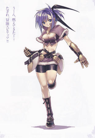 blue_eyes boots cleavage gauntlets purple_hair shorts short_shorts short_skirt skirt // 1728x2508 // 1.7MB