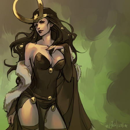 brunette cleavage cloak dress horns loki marvel // 800x800 // 331.4KB