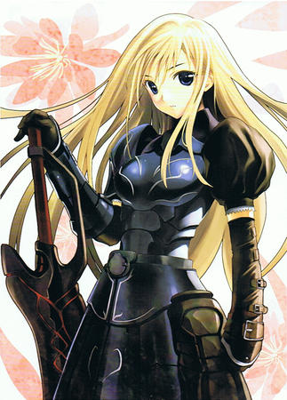 armor blonde blue_eyes gauntlets long_hair oversized_weapon sword // 780x1086 // 887.2KB