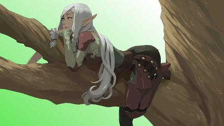 blonde boots dbg elf long_hair thighhighs tree // 1920x1080 // 1.1MB