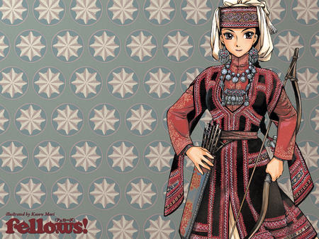 arrow bow brown_eyes brunette desktop dress hat otoyomegatari // 1600x1200 // 2.0MB