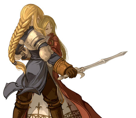 agrias blonde braids fft final_fantasy gauntlets sword // 1025x890 // 111.4KB