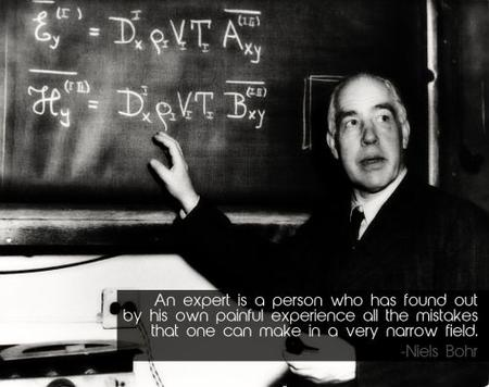bw chalkboard expert niels_bohr photo quote // 500x395 // 32.4KB