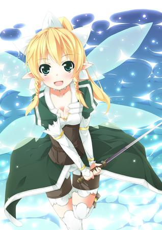 blonde braids cleavage elf fairy green_eyes lyfa shorts sword sword_art_online thighhighs wings // 1000x1414 // 273.3KB