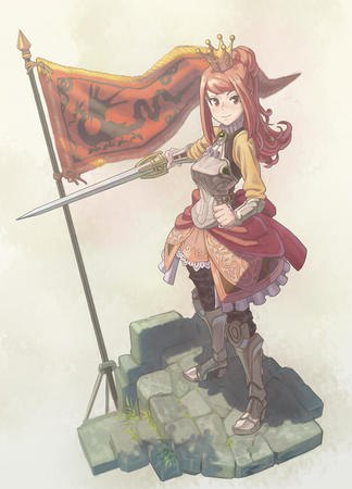 armor crown flag redhead skirt sword // 755x1050 // 466.4KB