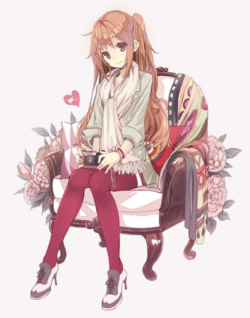 camera chair chuunibyou_demo_koi_ga_shitai high_heels jacket long_hair nibutani_shinka scarf // 787x1000 // 344.7KB