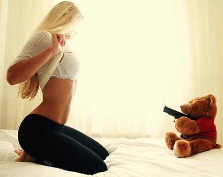 barefoot bed blonde bra gun photo sweater teddy_bear // 800x634 // 165.7KB