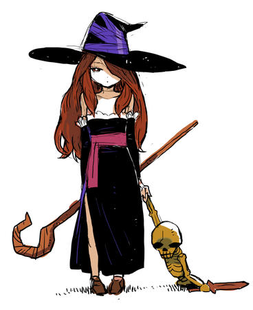 dat dragon_crown dress long_hair skeleton staff sword witch // 626x765 // 239.9KB