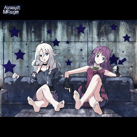 barefoot blonde blue_eyes gloves horns purple_hair skirt sofa // 4093x4093 // 7.9MB