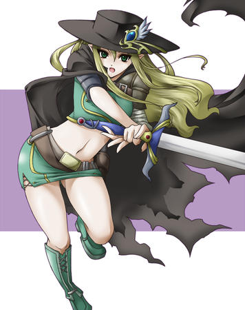 blonde boots cape elf green_eyes hat short_skirt skirt sword // 900x1139 // 463.6KB