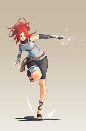 blue_eyes gloves redhead sandals shorts shuriken // 700x1069 // 281.0KB