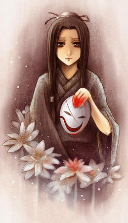 brown_eyes brunette flower kimono mask // 460x800 // 513.4KB