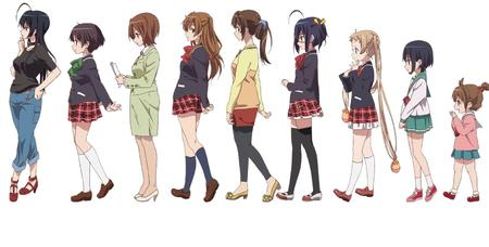 blonde brunette chuunibyou_demo_koi_ga_shitai group high_heels jacket jeans nibutani_shinka school_uniform seifuku short_skirt skirt sweater twintains // 1577x800 // 1.1MB