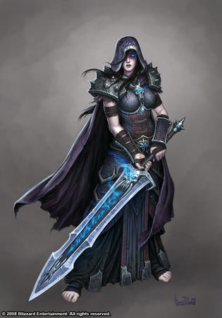 blue_eyes cape hood oversized_weapon pauldrons sword // 490x700 // 67.4KB