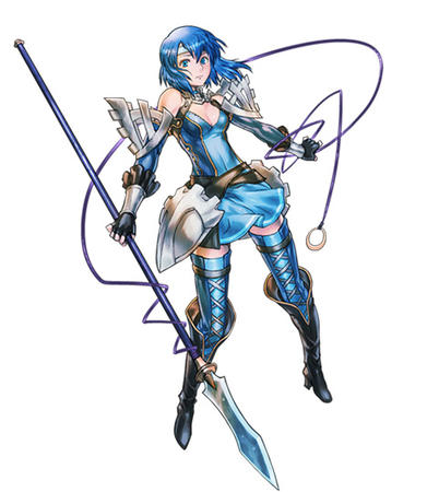 blue_eyes blue_hair boots dress gauntlets gloves spear thighhighs // 482x540 // 113.6KB