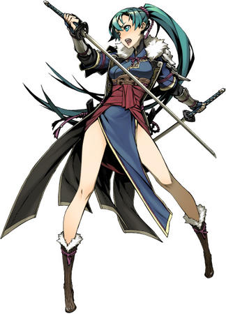 blue_eyes blue_hair boots dress katana long_hair sword // 401x557 // 124.4KB