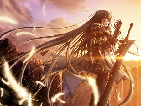armor brunette dagger feather gauntlets long_hair oversized_weapon skirt sword // 1600x1200 // 1.1MB