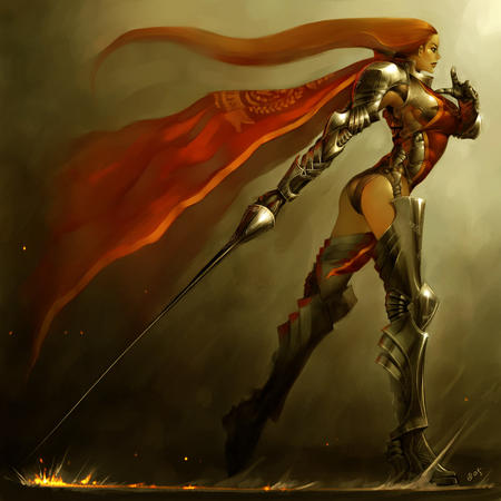 armor breastplate cape greaves long_hair pauldrons redhead sword thighhighs // 1600x1600 // 372.1KB