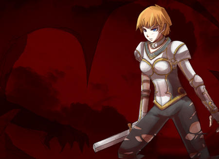 blonde blue_eyes breastplate gloves pauldrons ripped_clothes short_hair sword // 634x461 // 110.8KB