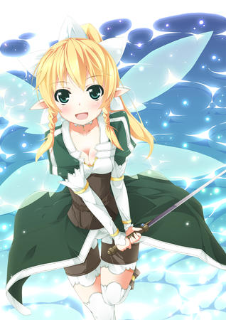 blonde boots braids cleavage elf fairy green_eyes katana lyfa ponytail shorts sword sword_art_online thighighs wings // 1000x1414 // 704.6KB