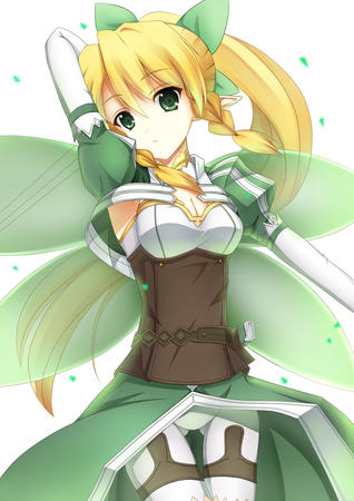 braids cleavage elf fairy green_eyes lyfa ponytail shorts sword_art_online wings // 706x1000 // 185.7KB