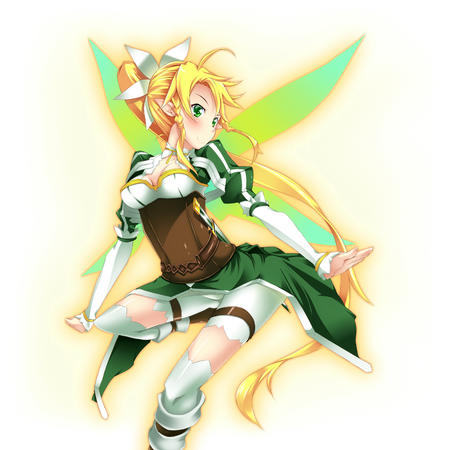 boots braids cleavage elf fairy green_eyes lyfa ponytail shorts sword_art_online thighhighs wings // 1280x1280 // 1.1MB