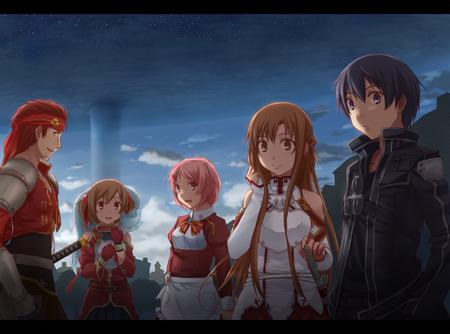 apron asuna breastplate brunette coat desktop dragon familiar gloves group kirito lisbeth long_hair pink_hair purple_eyes silica sword sword_art_online twintails // 1100x816 // 142.7KB