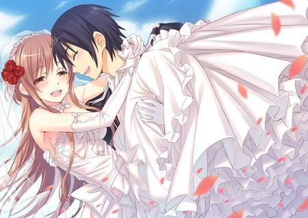 asuna bride brunette dress flower gloves gown hug kirito long_hair sword_art_online veil // 960x679 // 159.2KB