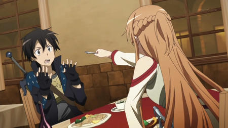 asuna braids breastplate brunette gloves jacket kirito long_hair screenshot sword sword_art_online // 1280x720 // 128.3KB