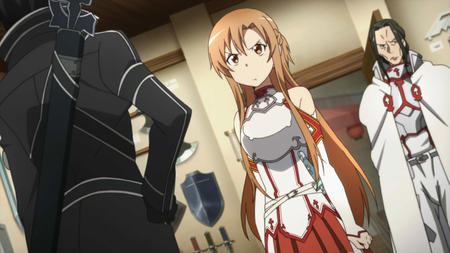 asuna braids breastplate cape gloves jacket kirito long_hair screenshot short_skirt skirt sword_art_online // 1280x720 // 134.3KB
