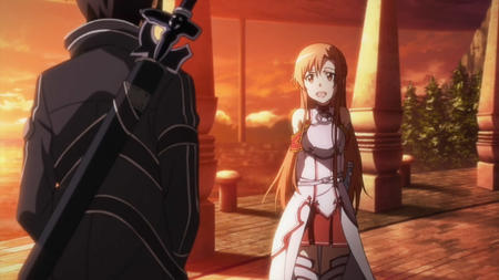 asuna breastplate brunette jacket kirito long_hair screenshot short_skirt skirt sword sword_art_online thighhighs // 1280x720 // 123.4KB