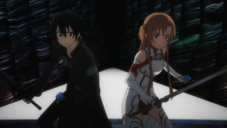 asuna braids brunette gloves jacket kirito long_hair screenshot short_skirt skirt sword sword_art_online thighhighs // 1280x720 // 88.1KB