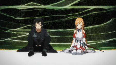 asuna braids breastplate brunette gloves jacket kirito lond_hair screenshot short_skirt skirt sword sword_art_online thighhighs // 1280x720 // 149.9KB