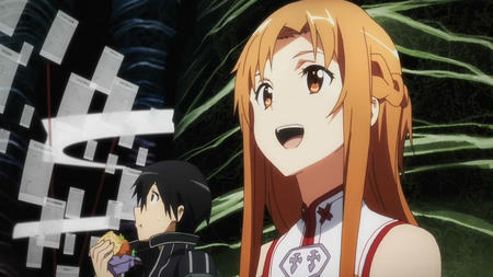 asuna braids brunette kirito long_hair sandwich screenshot sword_art_online // 1280x720 // 146.5KB