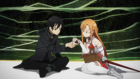 asuna basket braids brunette jacket kirito long_hair screenshot short_skirt skirt sword sword_art_online thighhighs // 1280x720 // 159.9KB