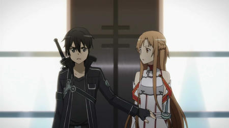 asuna braids breastplate brunette gloves jacket long_hair screenshot sword sword_art_online // 1280x720 // 82.2KB