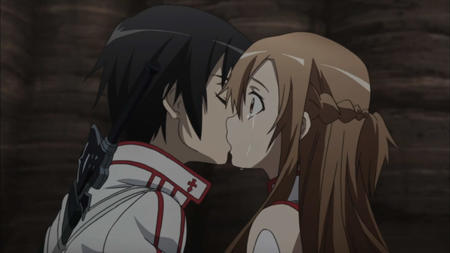 asuna braids brunette kirito kiss long_hair screenshot sword sword_art_online // 1280x720 // 79.2KB