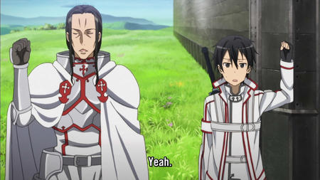 armor breastplate brunette cape gloves jacket screenshot subtitles sword sword_art_online // 1280x720 // 155.7KB