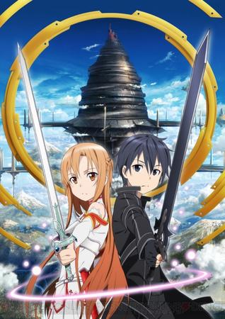 asuna braids breastplate brunette gloves jacket kirito long_hair sword sword_art_online // 508x720 // 326.0KB