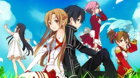 apron asuna braids breastplate brunette dragon dress familiar group jacket kirito lisbeth long_hair pink_hair silica skirt sword_art_online thighhighs twintails yui // 1920x1080 // 2.5MB