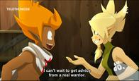 blonde cleophee cra freckles green_eyes iop sadlygrove screenshot subtitles wakfu // 912x534 // 667.5KB