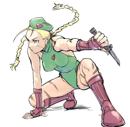 blonde boots braids cammy dagger gloves green_eyes hat sketch street_fighter // 900x880 // 190.9KB