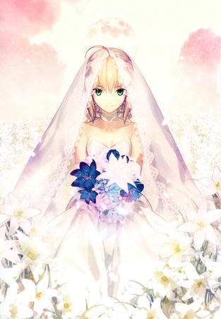 bride dress fate flower gown green_eyes saber veil // 2768x3974 // 2.9MB