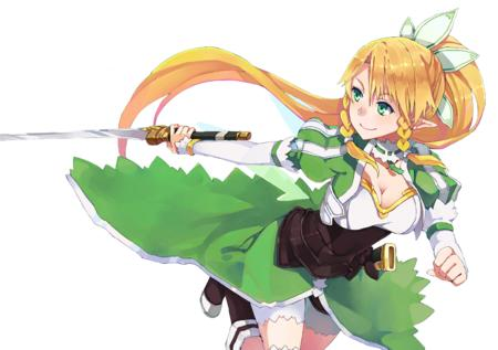 blonde boots braids cleavage elf fairy green_eyes katana long_hair lyfa ponytail shorts sword sword_art_online // 1545x1090 // 1.1MB