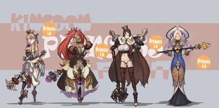 blonde brunette cleavage crown dress group kingdom_fight long_hair princess purple_hair redhead scepter twintails // 1500x742 // 756.9KB